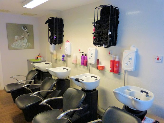 Salon hair wash area